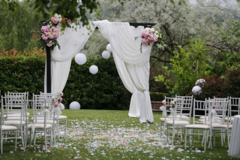 wedding venue, grass, chairs, furniture, outdoor, wedding, flower, garden, chair, marriage