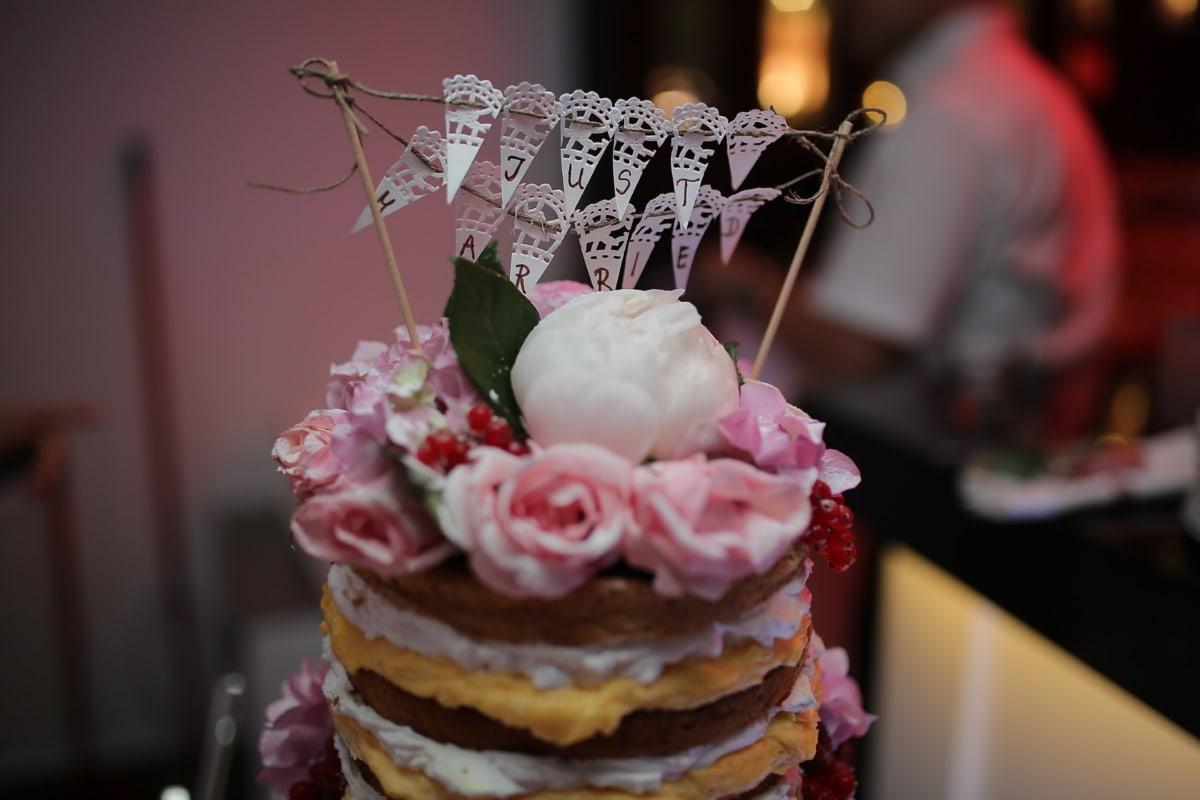 frisch verheiratet, Dekoration, Text, Pfannkuchen, Dessert, Kuchen, Hochzeit, Creme, süß, Braut