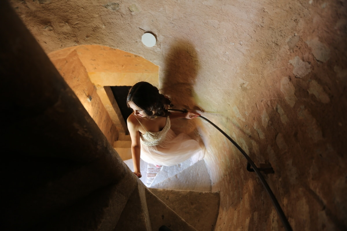 bride, castle, princess, staircase, woman, portrait, light, girl, dark, indoors