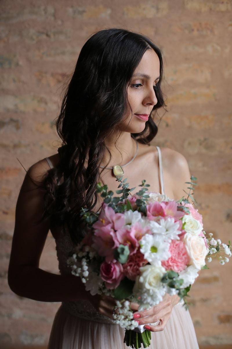 Unschuld, hübsches mädchen, Braut, Blumenstrauß, Mode, Frau, Hochzeit, Glanz, ziemlich, Liebe