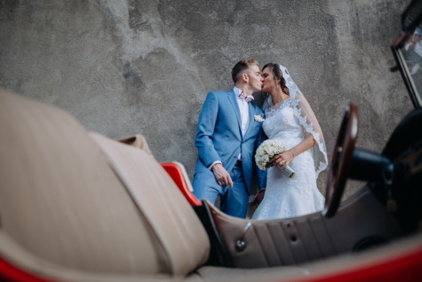 baiser, jeune marié, la mariée, Oldtimer, sedan, personne, femme, mariage, homme, amour
