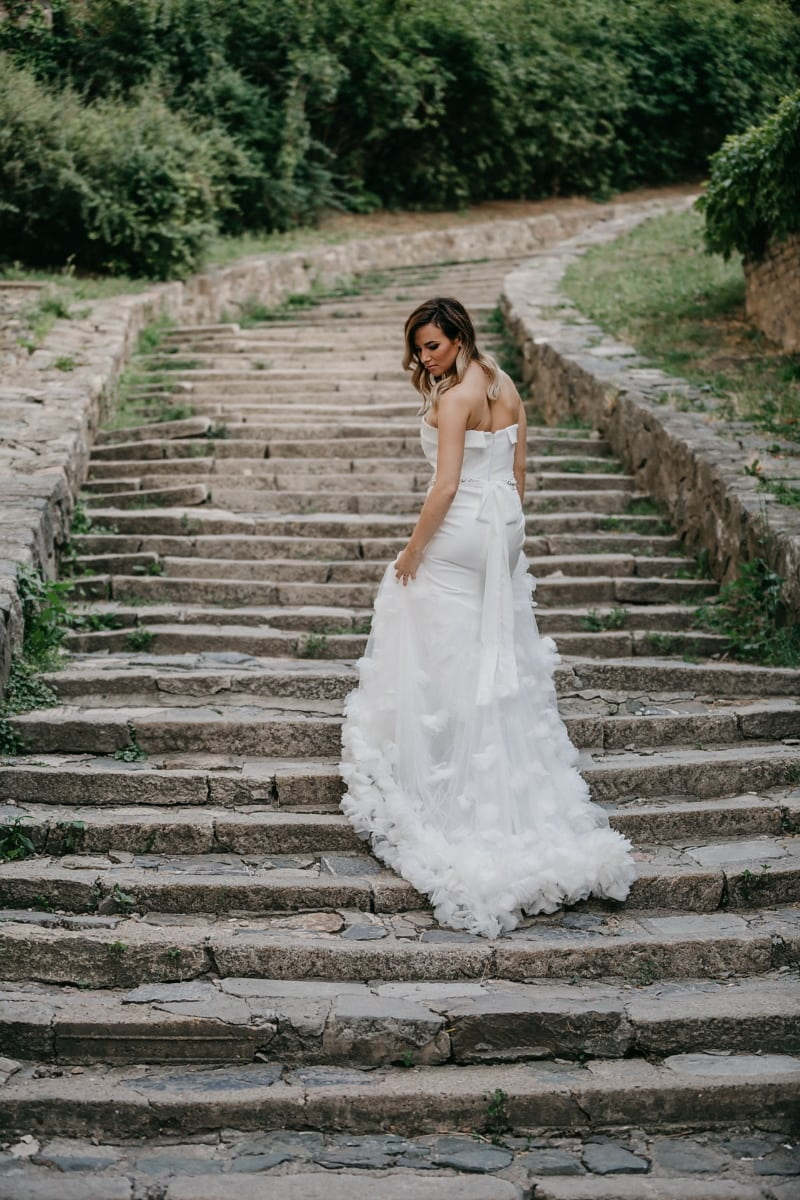 dress, white, stairs, pretty girl, wedding, bride, step, married, marriage, love