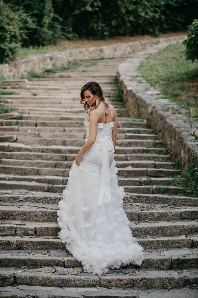 staircase, street, pretty girl, gorgeous, wedding dress, white, dress, happiness, married, wedding