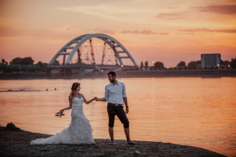 cityscape, wedding dress, harbor, sunset, groom, bride, ocean, water, beach, sea