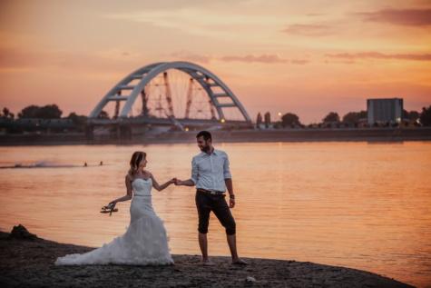 stadsgezicht, trouwjurk, haven, zonsondergang, bruidegom, bruid, oceaan, water, strand, zee