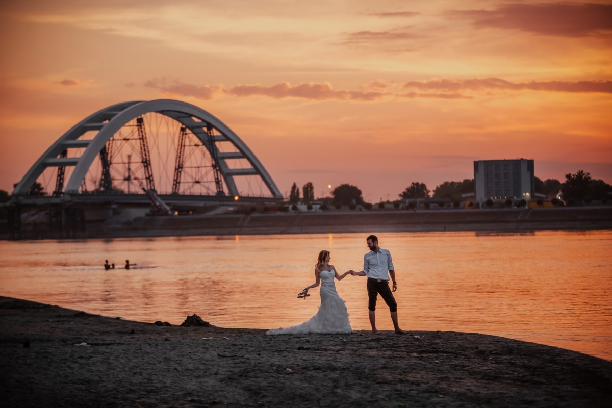 vestito da sposa, spiaggia, tramonto, sposo, sposa, acqua, struttura, mare, Ponte, Alba