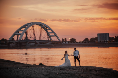 romantic, love, evening, newlyweds, sunset, bridge, dawn, beach, water, sea