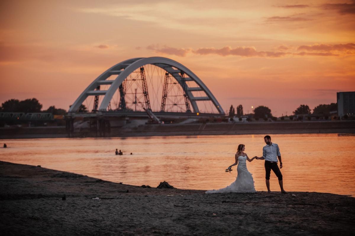 spiaggia, Porto, tramonto, sposo, novelli sposi, sposa, acqua, struttura, Alba, mare