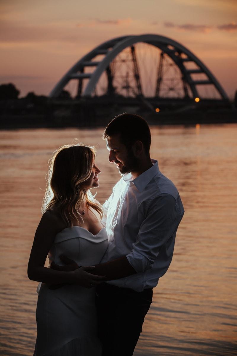 vrouw, liefde, man, romantiek, paar, bruidegom, zonsondergang, water, strand, meisje