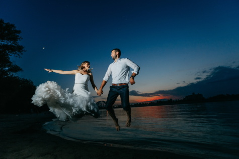щастие, скокове, веселие, булката, младоженец, море, Момиче, вода, двойка, Любов