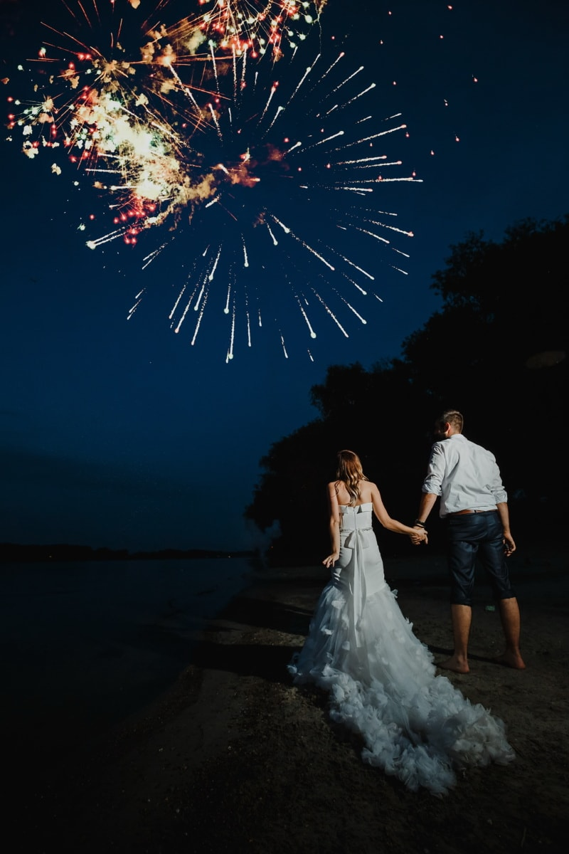bride, fireworks, groom, just married, night, beach, people, festival, wedding, love