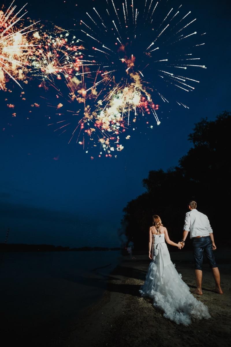 girlfriend, boyfriend, looking, beachfront, romance, fireworks, love, equipment, wedding, lighting