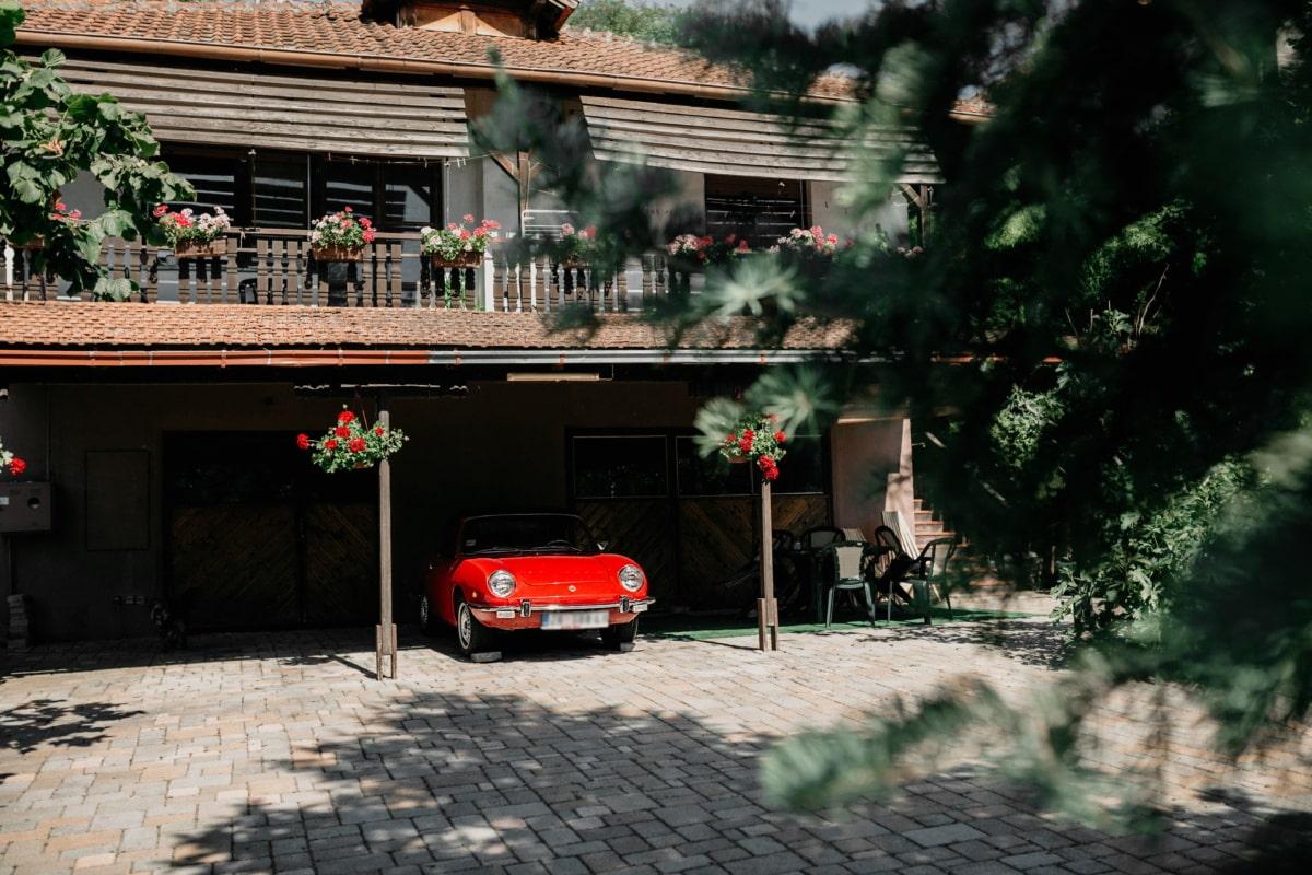 voiture, rouge, arrière-cour, Garage, architecture, maison, Accueil, arbre, Création de, chaussée