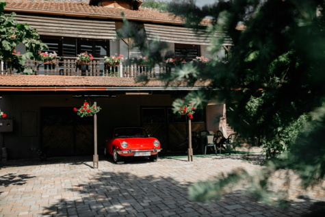 car, red, backyard, garage, architecture, house, home, tree, building, pavement