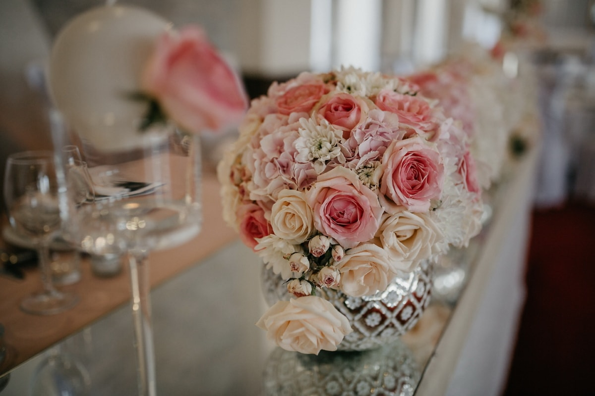 romance, arrangement, reception, elegant, wedding, bouquet, rose, flower, decoration, luxury