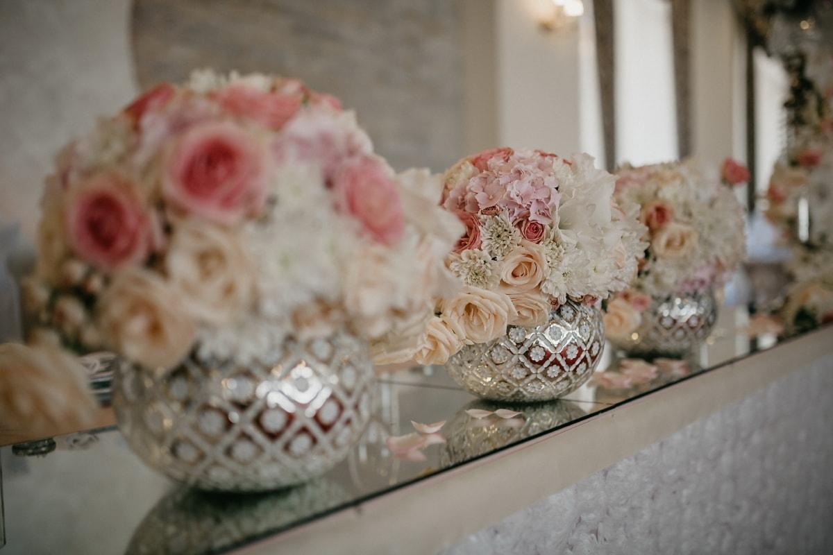 décoration d'intérieur, vase, salle de mariage, miroir, décoration, mariage, traditionnel, fleur, porcelaine, table