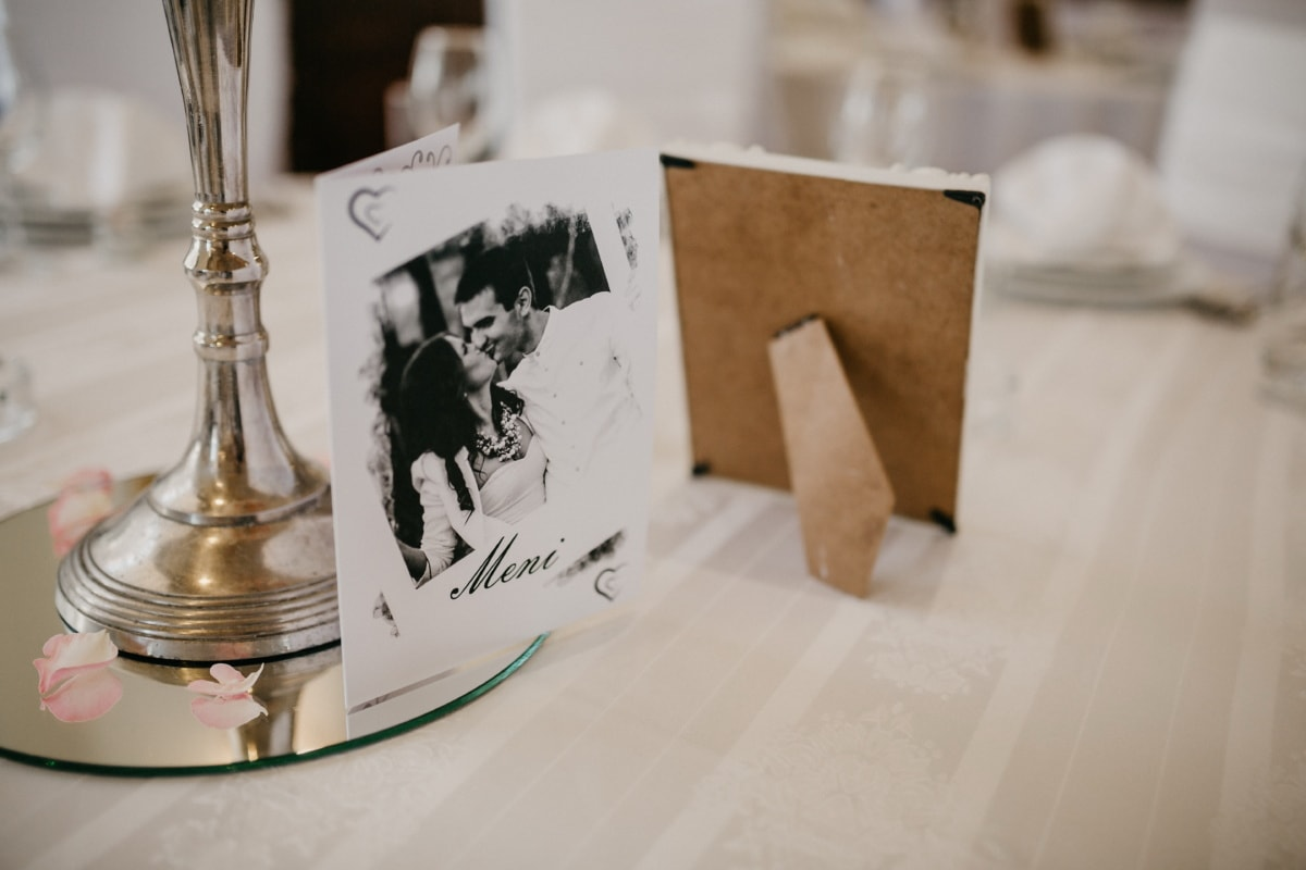 enveloppe de, romantique, table à dîner, message, photo, photo, nostalgie, romance, amour, memorabilia