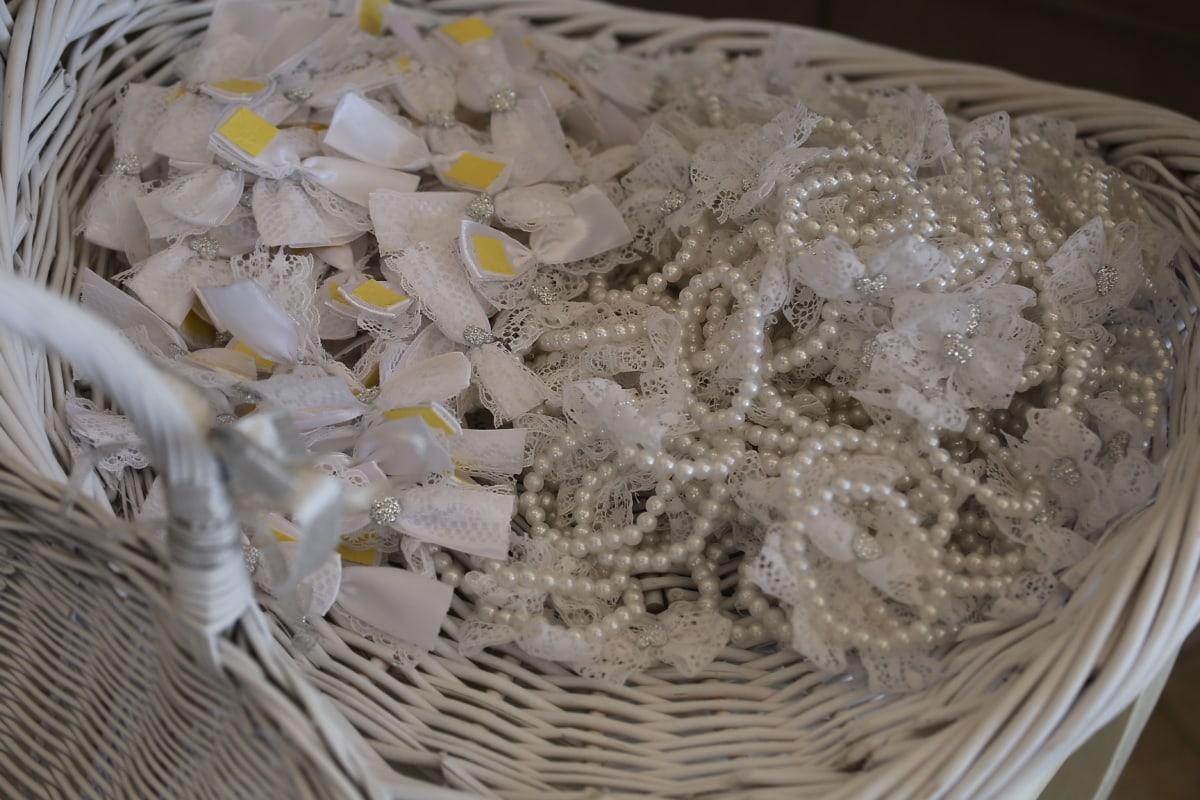Schmuck, Perle, Armband, Weidenkorb, weiß, Hochzeit, traditionelle, elegant, Luxus, Still-Leben