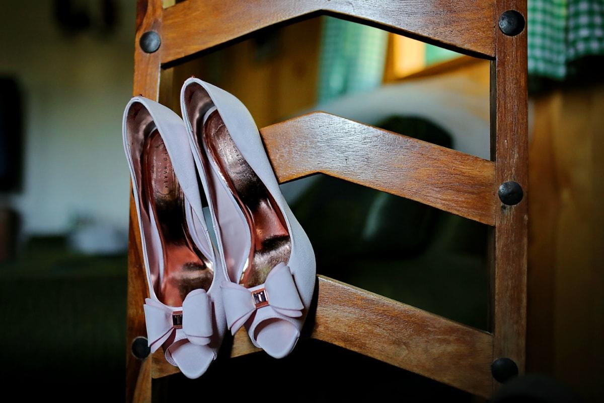 bryllup, fancy, sko, tre, stol, tre, retro, møbler, gamle, årgang