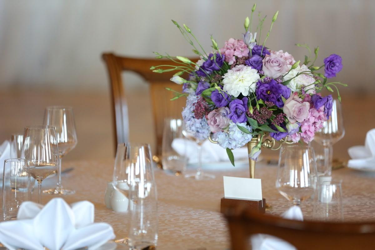 Essbereich, Tabelle, Vase, Blumenstrauß, Blumen, Dekoration, Interieur-design, Anordnung, Glas, elegant