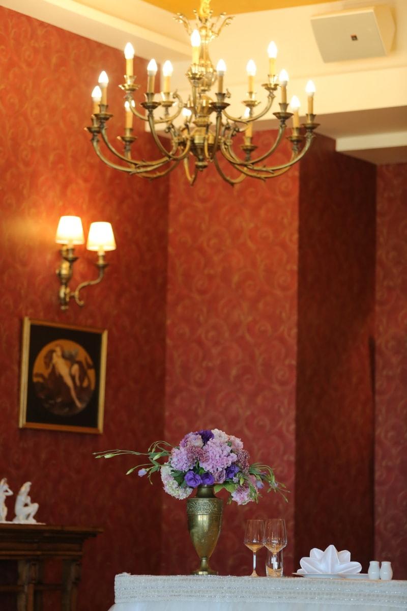 Design d'intérieur, baroque, style, luxe, lustre, à l'intérieur, chambre, Accueil, meubles, lampe