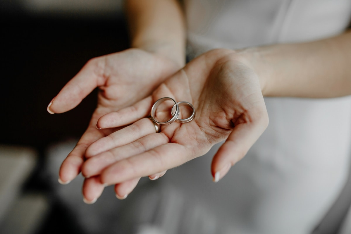 pair, gold, wedding ring, hands, arms, white, dress, woman, body, hand