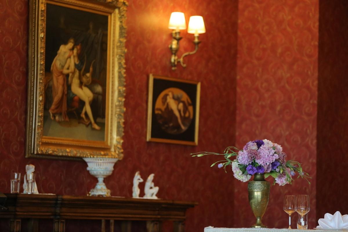 vase, white wine, interior design, fine arts, altar, room, indoors, furniture, home, luxury