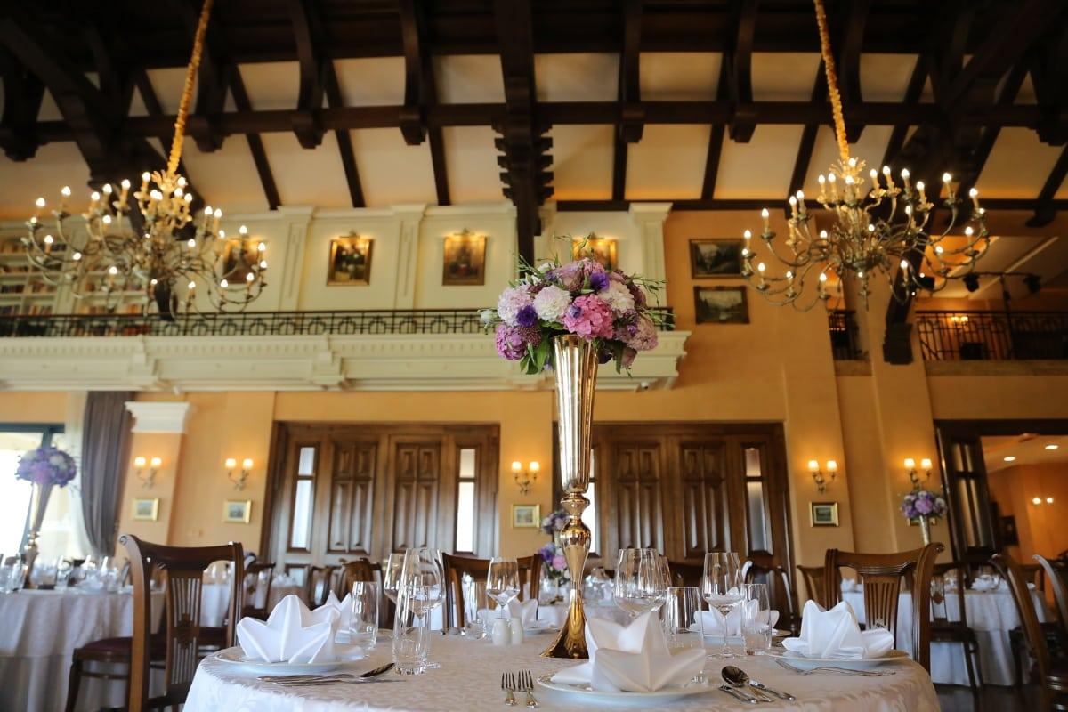 table, luxe, à manger, Design d'intérieur, hôtel, lustre, à l'intérieur, meubles, restaurant, chaise