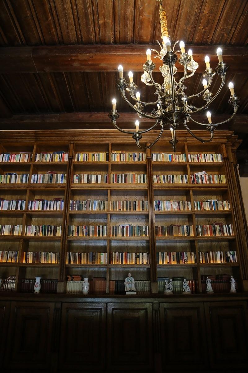 groß, Kronleuchter, Bücher, Bücherregale, Bibliothek, Bücherregal, Möbel, Holz, drinnen, Lampe