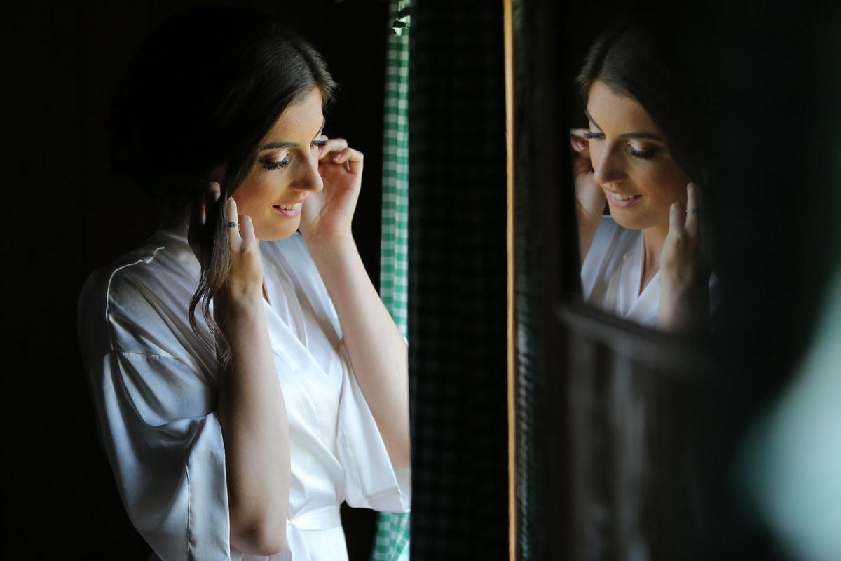 Jolie fille, miroir, fenêtre, magnifique, sourire, ombre, femme, attrayant, Portrait, mode