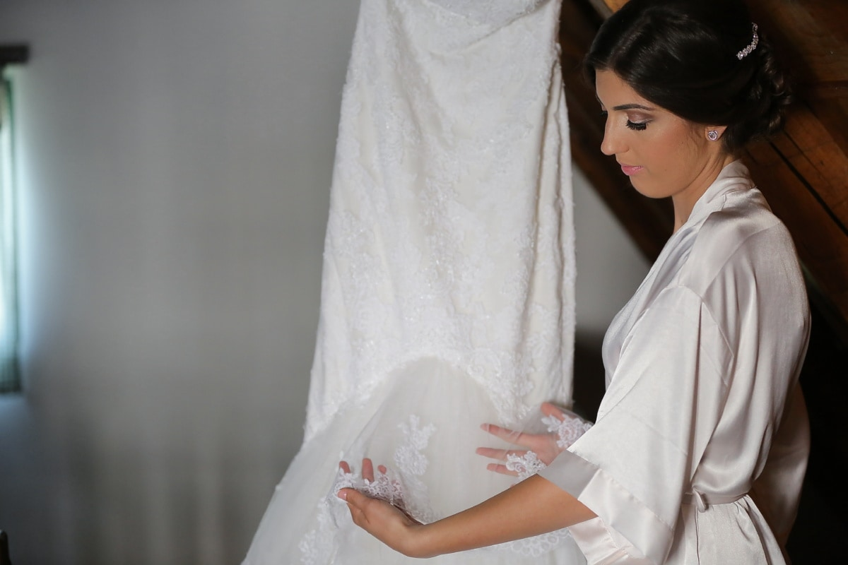 silk, bride, coat, holding, white, wedding dress, woman, garment, wedding, fashion