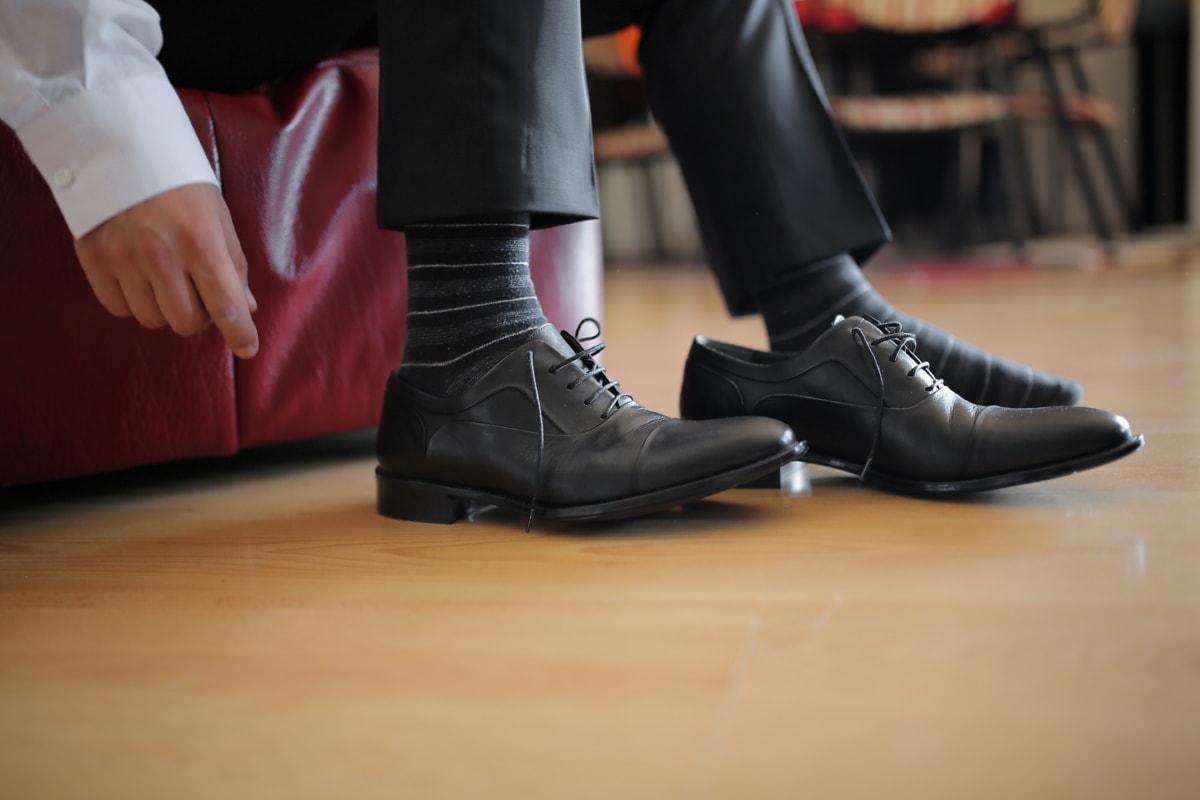 chaussures, pied, chaussures, noir, homme, chaussette, en cuir, jambe, chaussure, jeune fille