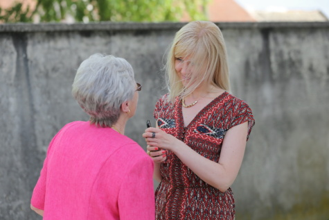 smiling, blonde, elderly, talk, grandmother, conversation, blond, happy, woman, outdoors
