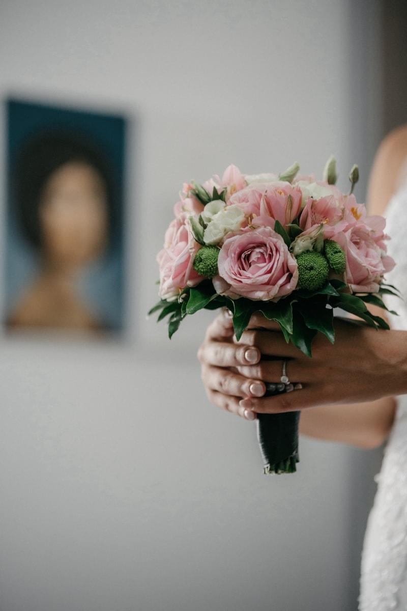Hochzeitsstrauß, Blumenstrauß, Blume, Anordnung, Liebe, Braut, stieg, Hochzeit, Dekoration, Frau