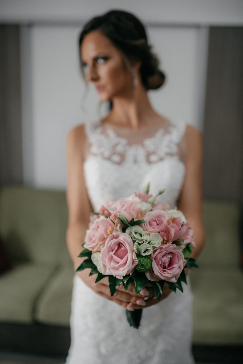 Braut, halten, Hochzeitsstrauß, Hochzeit, Kleid, Blumenstrauß, Anordnung, Blumen, Frau, Heilige