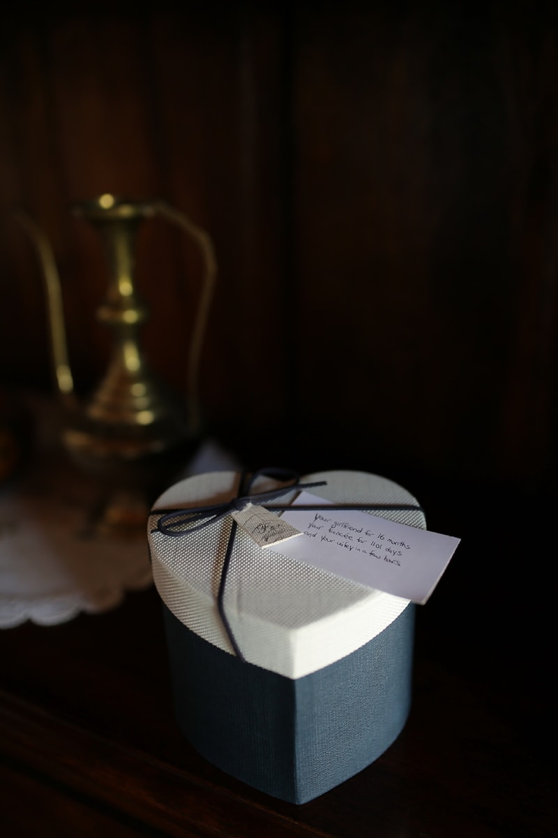 gift, message, love, heart, box, surprise, still life, wood, wedding, dark