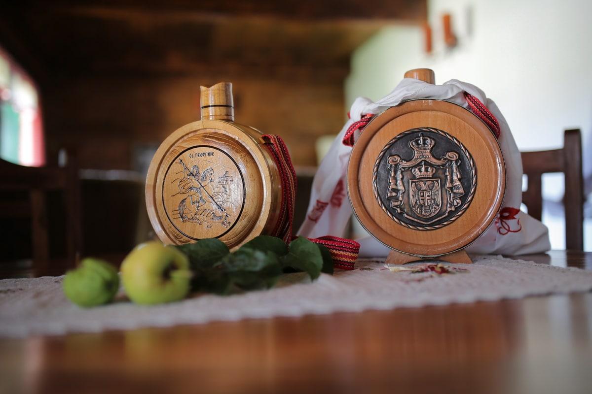 Serbie, tradition, cadeaux, fait main, bois, à l'intérieur, antique, vieux, nature morte, traditionnel