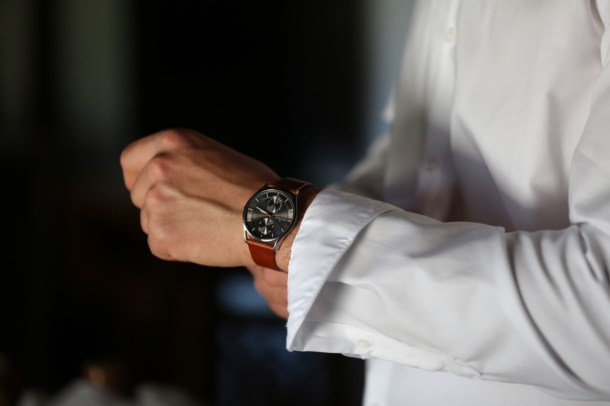 wristwatch, shirt, white, side view, man, people, time, indoors, business, hand