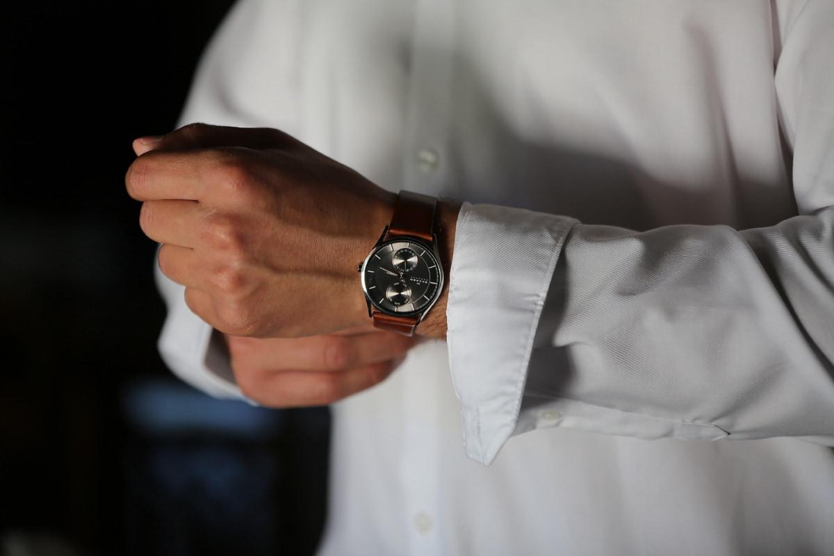tid, præcision, armbåndsur, mand, indendørs, mode, hånd, forretning, daggry, forretningsmand