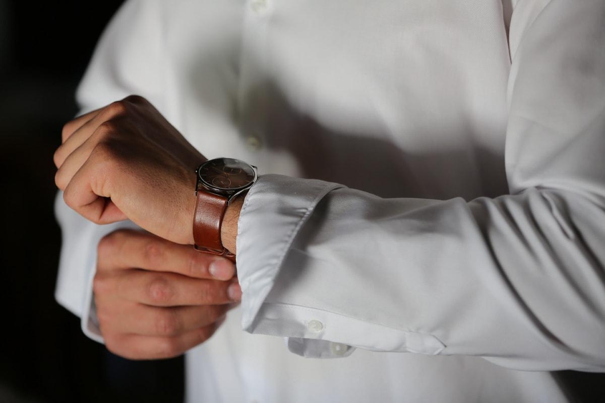 jam tangan, jam analog, kemeja, putih, tangan, Pengusaha, tampan, pakaian, pernikahan, Laki-laki