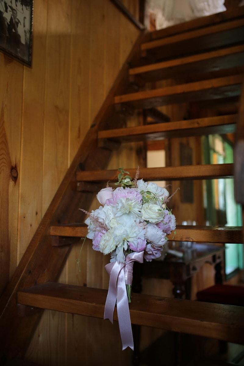 staircase, wooden, wedding bouquet, indoors, bouquet, flowers, flower, wedding, interior design, furniture