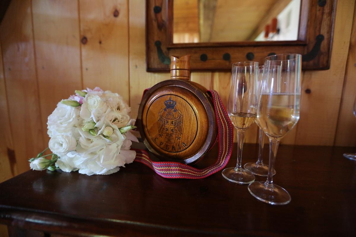 Serbie, tradition, verre, crystal, vin blanc, vin, bois, table, boisson, nature morte