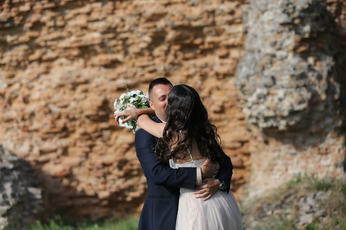 bride, groom, kiss, hugging, love, outdoors, wedding, nature, woman, romance