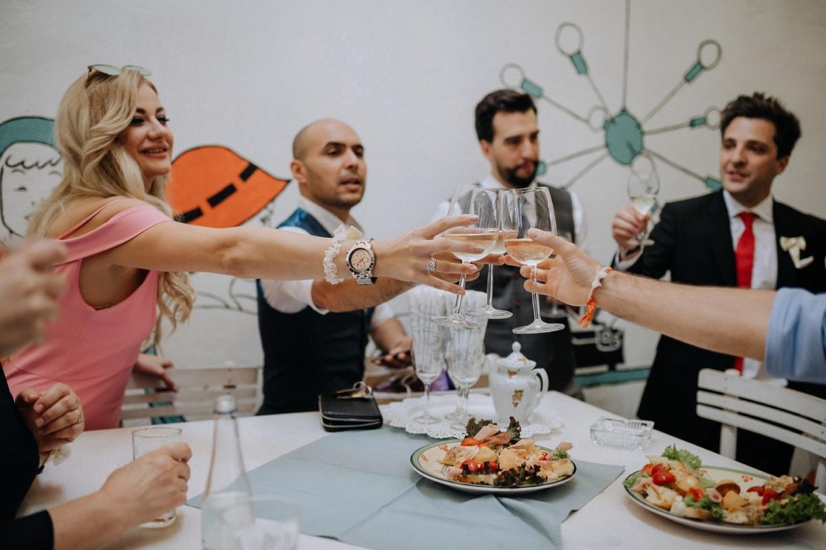 party, drink, people, celebration, drinking, champagne, white wine, woman, men, enjoyment