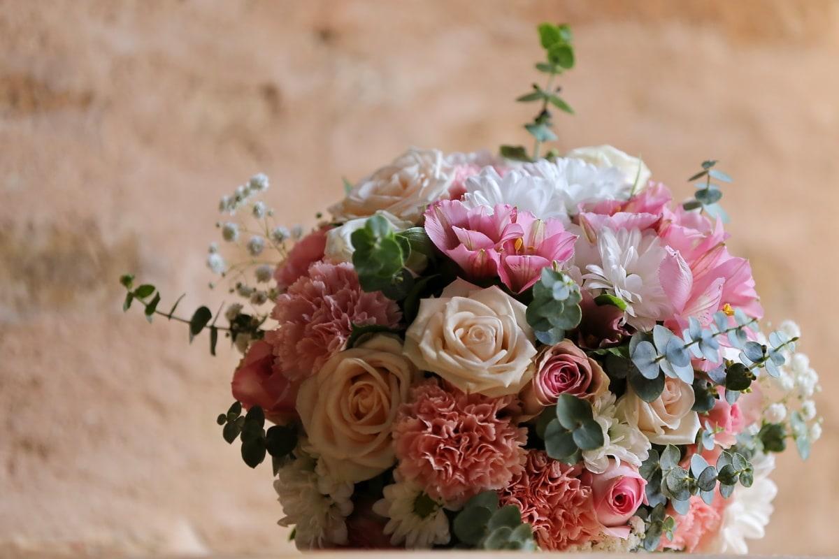 bouquet, bouquet de mariage, des roses, cadeau, pastel, romance, nature, décoration, Rose, arrangement