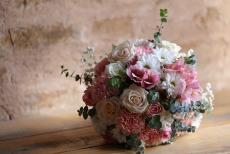 tabela, de madeira, buquê, sombra, romance, arranjo, decoração, flor, rosa, folha