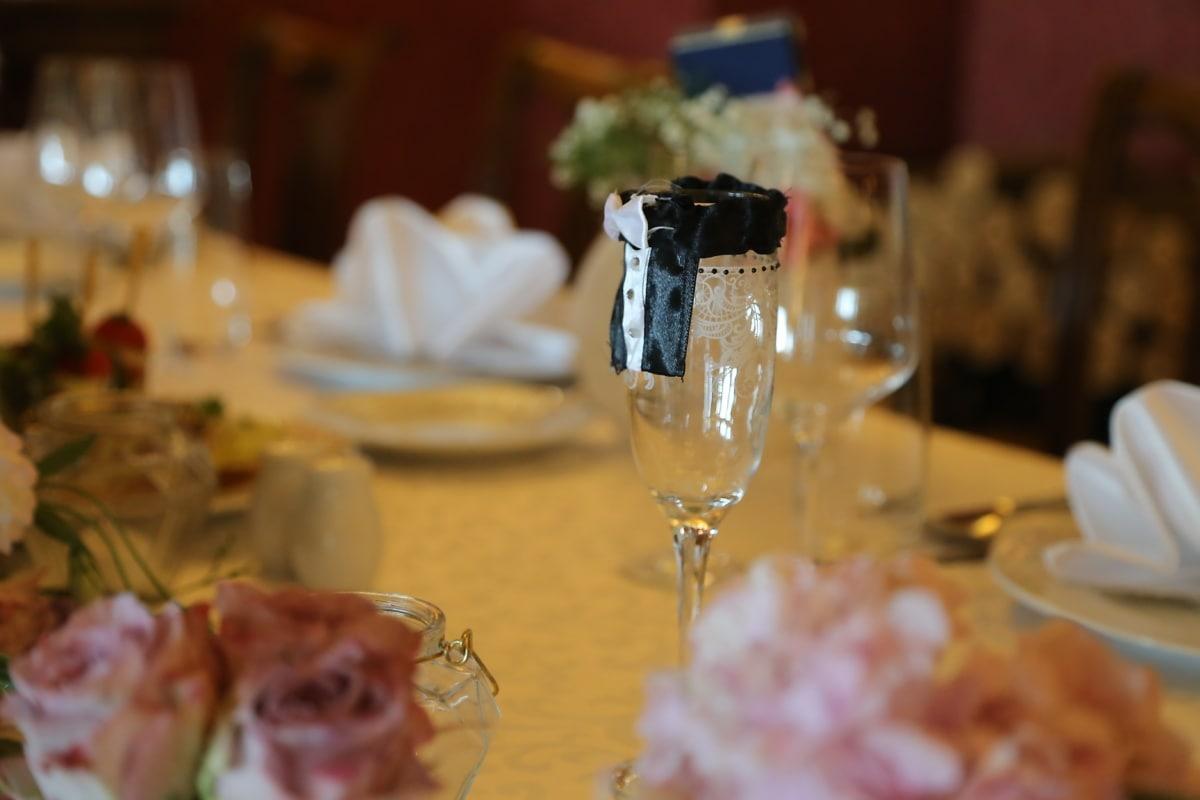 vin, salle de mariage, jeune marié, verre, mariage, alcool, à manger, boisson, coutellerie, parti