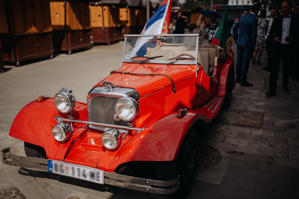 car, sedan, red, oldtimer, event, street, vehicle, automobile, transportation, convertible