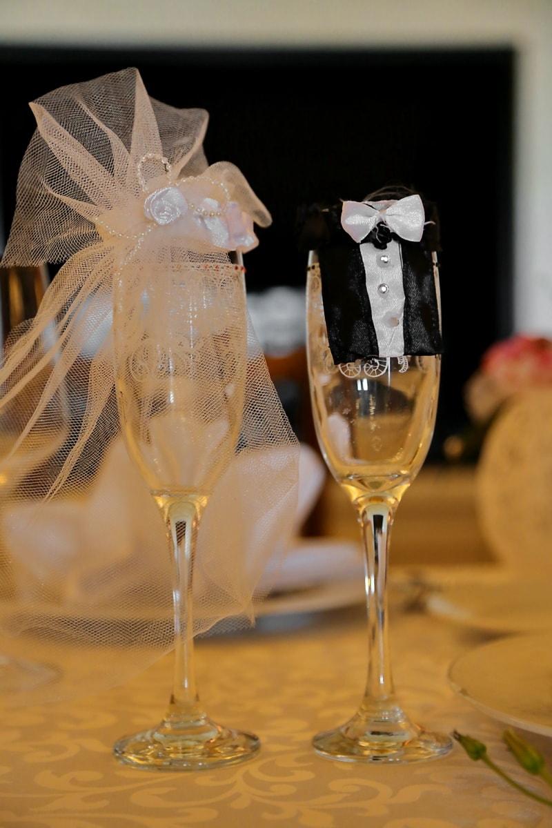 jeune marié, la mariée, crystal, verre, fantaisie, champagne, décoration, vin blanc, alcool, boisson