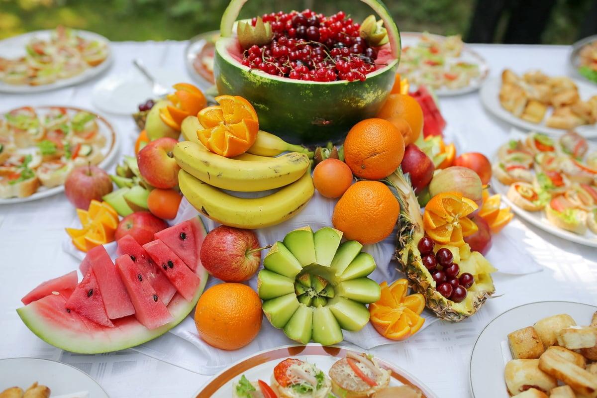bar à salade, cantaloup, fruits, agrumes, restauration rapide, banane, snack, régime alimentaire, alimentaire, salade